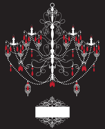 Vintage invitation card with ornate elegant abstract design, white and red chandelier on black.