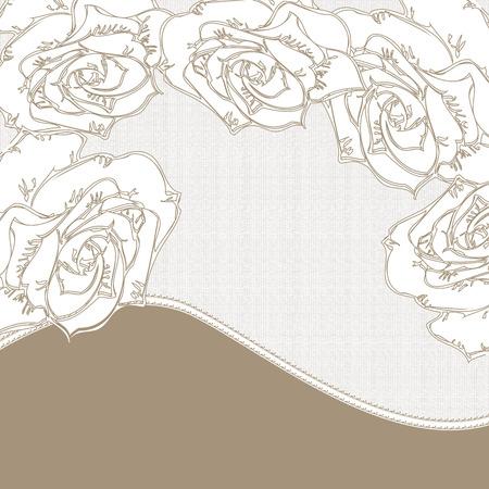rose blanche: Vintage carton d'invitation avec un �l�gant design floral abstrait, fleurs rose blanche sur fond gris.