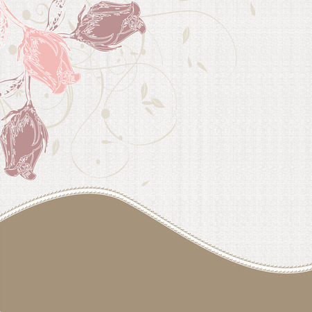enchanting: Vintage invitation card with elegant retro abstract floral design, pink and purple rose flowers on gray and brown.  Illustration