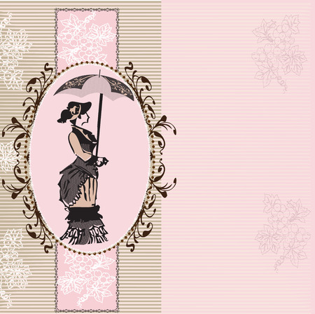 pink stripes: Vintage invitation card with ornate elegant abstract floral design, woman with umbrella and grapes on gray and pink stripes.  Illustration