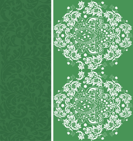 Vintage invitation card with ornate elegant abstract floral design, white on green.