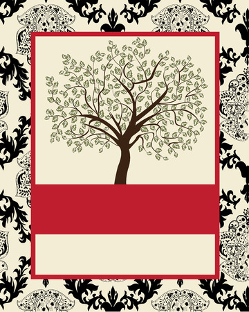the tree to blossom: Vintage invitation card with ornate elegant abstract floral tree design, black and red on gray.
