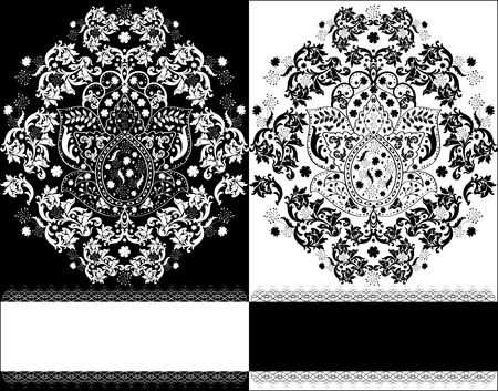 birthday cards: Vintage invitation card with ornate elegant abstract floral design, black and white.