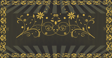 signboard design: Vintage signboard with ornate elegant retro abstract floral design, brown flowers with gray rays.