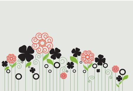 enchanting: Vintage invitation card with elegant retro abstract floral design, orange and black flowers on green. Illustration