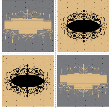 Set of four (4) vintage labels with ornate elegant abstract floral designs, black brown gray. Ilustracja