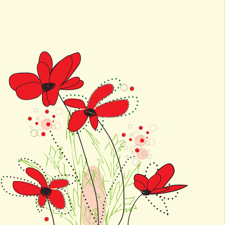 Vintage invitation card with elegant retro abstract floral design, red flowers on yellow.