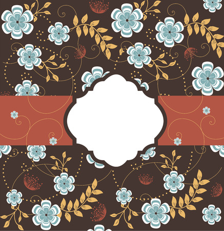 enchanting: Vintage invitation card with ornate elegant retro abstract floral design, blue flowers on brown with ribbon.
