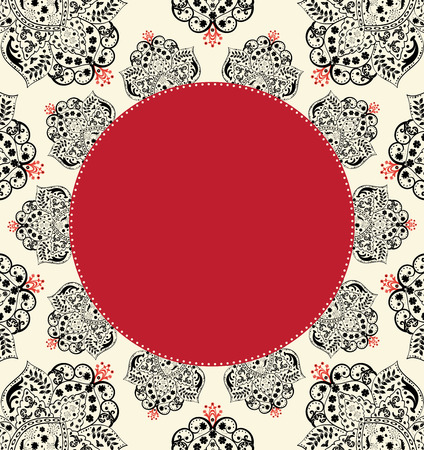 плоть: Урожай пригласительный билет с богато элегантный абстрактного цветочный дизайн, черный с красным плоть.