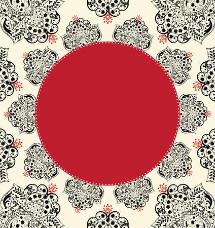 flesh: Vintage invitation card with ornate elegant abstract floral design, black with red on flesh.