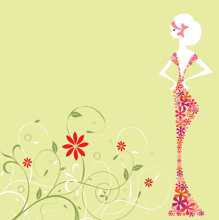 Vintage invitation card with elegant retro abstract floral design, woman in flower dress on green. Vector
