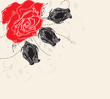 Vintage invitation card with elegant retro abstract floral design, red and black rose flowers on gray.