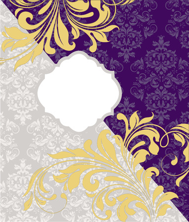 pale yellow: Vintage invitation card with ornate elegant abstract floral design, pale yellow on royal purple and gray. Vector illustration.
