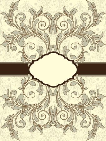 Vintage invitation card with ornate elegant abstract floral design, brown and gray on pale yellow with ribbon. Vector illustration. Illustration