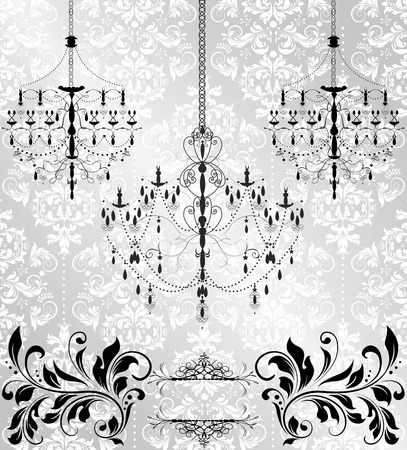 thank you cards: Vintage invitation card with ornate elegant abstract floral design, black and white on gray with chandeliers. Vector illustration.