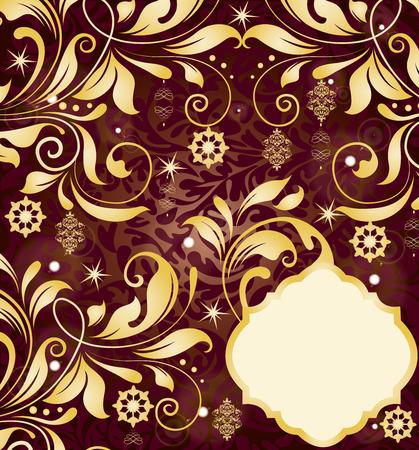 reddish: Vintage Christmas invitation card with ornate elegant retro abstract sparkling floral design, gold on reddish purple. Vector illustration. Illustration