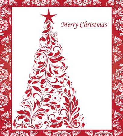 cute border: Cartolina di Natale dell'annata con ornato raffinato disegno floreale astratto, rosso su albero di Natale bianco con bordo. Illustrazione vettoriale.