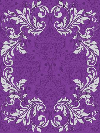 enchanting: Vintage invitation card with ornate elegant abstract floral design, white on royal purple. Vector illustration.