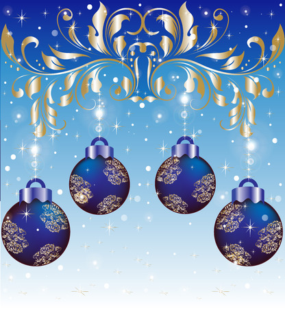Vintage Christmas card with ornate elegant abstract floral design, shiny gold on blue with balls and twinkling stars and snow. Vector illustration.
