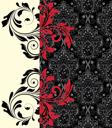flesh: Vintage invitation card with ornate elegant abstract floral design, red on gray and black and flesh. Vector illustration.