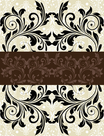 Vintage wedding invitation card with ornate elegant abstract floral design, black on gray with brown ribbon. Vector illustration. Ilustrace
