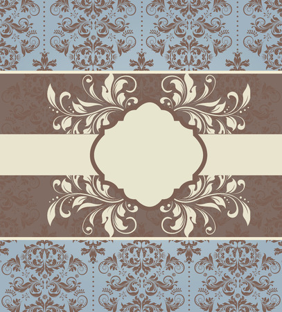 blue card: Vintage invitation card with ornate elegant abstract floral design, brown and pale yellow on pale blue with ribbon. Vector illustration.