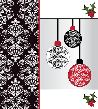 Vintage Christmas card with ornate elegant abstract floral design, white on black with red and green with balls and ponsettia. Vector illustration.