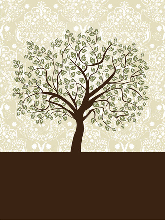 tree design: Vintage invitation card with ornate elegant abstract floral tree design, green and brown on gray. Vector illustration. Illustration