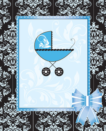 roman catholic: Vintage baby shower invitation card with ornate elegant retro abstract floral design, blue with baby carriage and ribbon. Vector illustration. Illustration