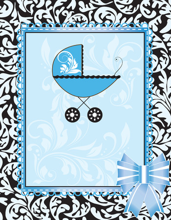 Vintage baby shower invitation card with ornate elegant abstract floral design, light blue on black with baby carriage, frame and ribbon. Vector illustration.