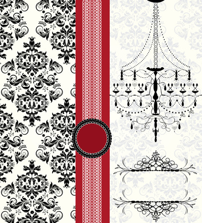 Vintage invitation card with ornate elegant abstract floral design, black and gray on white with chandelier and red ribbon. Vector illustration. Illustration