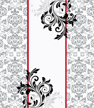 abstract floral: Vintage invitation card with ornate elegant abstract floral design, black and gray on white with two red stripes. Vector illustration.