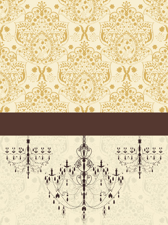 Vintage invitation card with ornate elegant abstract floral design, brown on pale yellow with chandeliers and ribbon. Vector illustration.
