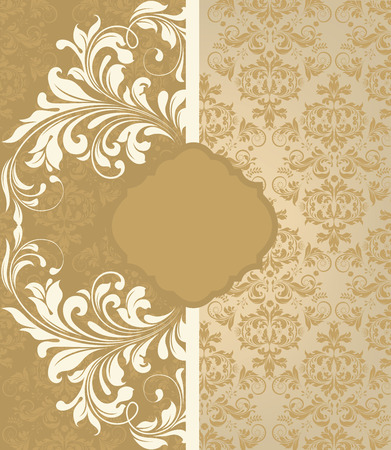 Vintage invitation card with ornate elegant abstract floral design, pale yellow and light brown with stripe. Vector illustration.