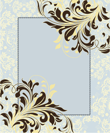 blue card: Vintage invitation card with ornate elegant abstract floral design, brown on pale yellow and blue with frame. Vector illustration.