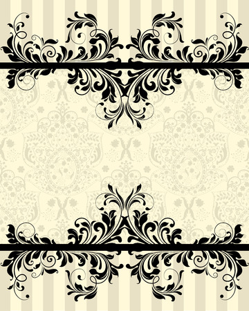 pale yellow: Vintage invitation card with ornate elegant abstract floral design, black on pale yellow with gray stripes. Vector illustration. Illustration