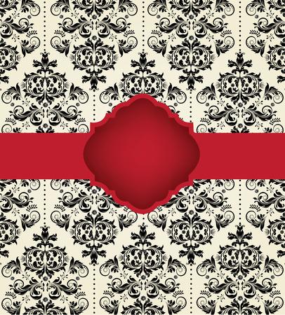 verschnörkelt: Jahrgang Einladungskarte mit verzierten eleganten abstrakten Blumenmuster, schwarz auf hellgelb mit rotem Band. Vektor-Illustration.