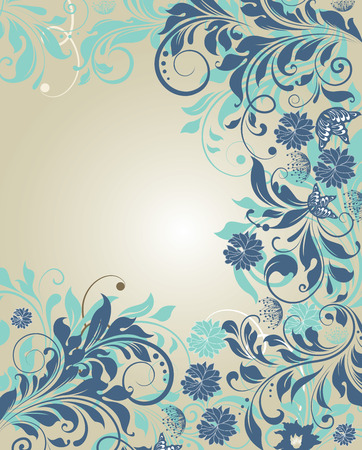 Vintage invitation card with ornate elegant retro abstract floral design, azure and light blue flowers on gray. Vector illustration.