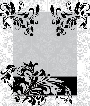 Vintage invitation card with ornate elegant abstract floral design, black and gray on white. Vector illustration.