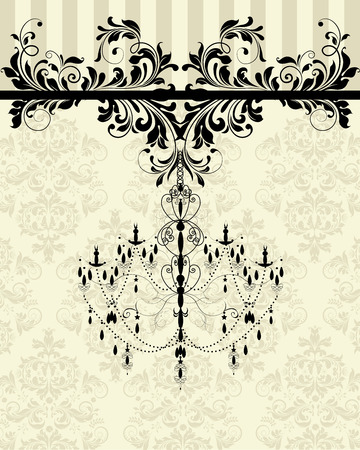 Vintage invitation card with ornate elegant abstract floral design, black on pale yellow with chandelier. Vector illustration.