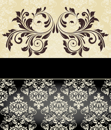 flesh: Vintage invitation card with ornate elegant abstract floral design, brown on flesh and white on black with ribbon. Vector illustration.