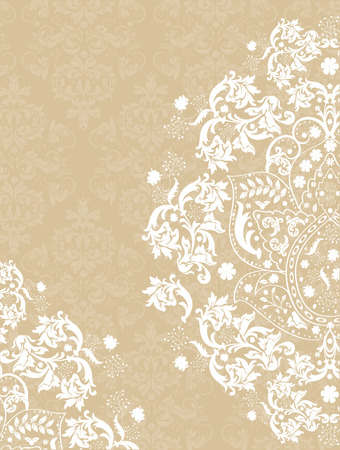 Vintage invitation card with ornate elegant abstract floral design, white on light brown. Vector illustration.