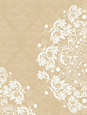 vintage borders: Vintage invitation card with ornate elegant abstract floral design, white on light brown. Vector illustration.