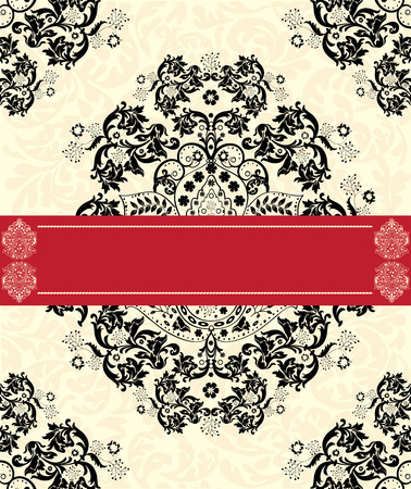 Vintage invitation card with ornate elegant abstract floral design, black on pale yellow with red ribbon. Vector illustration.