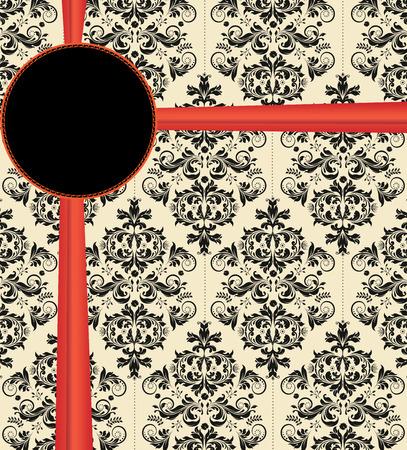 плоть: Урожай пригласительный билет с богато элегантный абстрактного цветочный дизайн, черный плоть с красной лентой. Векторная иллюстрация. Иллюстрация