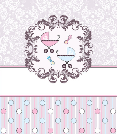 rattles: Vintage baby shower invitation card with ornate elegant retro abstract floral design, pink and light blue with baby carriages, rattles, polka dots and stripes. Vector illustration.
