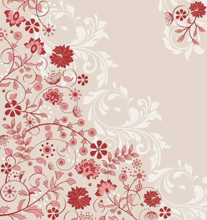 Vintage invitation card with ornate elegant retro abstract floral design, stiletto red flowers on gray. Vector illustration.
