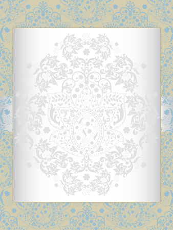 brownish: Vintage invitation card with ornate elegant abstract floral design, gray and light blue flowers on brownish yellow. Vector illustration.