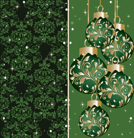 christmas stars: Vintage Christmas card with ornate elegant abstract floral design, green and gold on black with balls and sparkling stars and snow. Vector illustration. Illustration