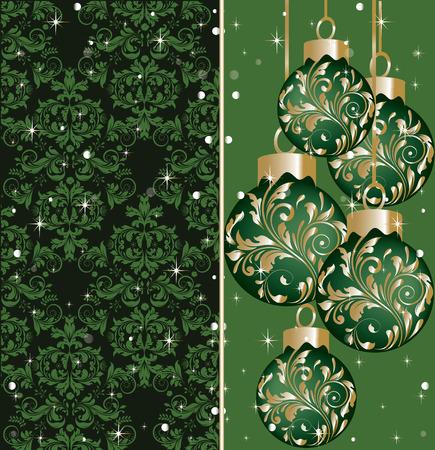 eleganz: Weinlese-Weihnachtskarte mit verzierten eleganten abstrakten Blumenmuster, grün und gold auf schwarz mit Bällen und funkelnden Sternen und Schnee. Vektor-Illustration. Illustration